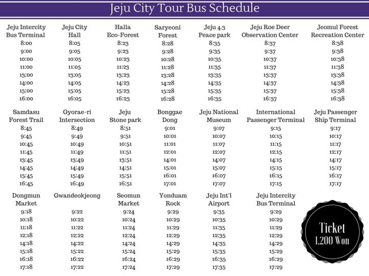 Jeju City Tour Bus Schedule (1)